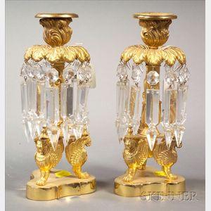 Pair of Empire-style Bronze Single Light Lustres