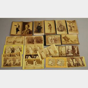 Group of 19th and Early 20th Century Photographic Stereo, Cabinet, and Tobacco   Cards