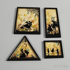 Four Framed Reverse-painted Silhouettes