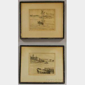 Charles Herbert Woodbury (American, 1864-1940)      Two Water Scenes