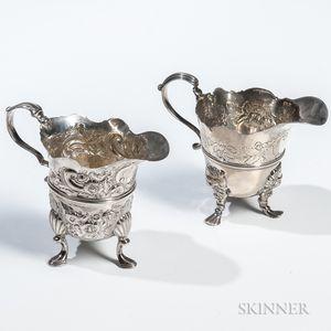 Two Georgian Sterling Silver Cream Jugs