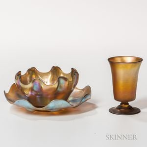 Tiffany Favrile Glass Plate, Bowl, and Cup