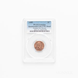 1955 Doubled Die Obverse Lincoln Cent, PCGS UNC Details, Questionable Color.