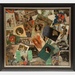 American/European School, 19th/20th Century      Art Nouveau Trompe l'Oeil of Postcards