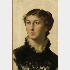 Xavier Alphonse Monchablon (French, 1835-1907)  Female Portrait Sketch