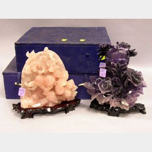 Chinese Amethyst Floral Carved Covered Vase and a Rose Quartz Floral Carved   Ornament