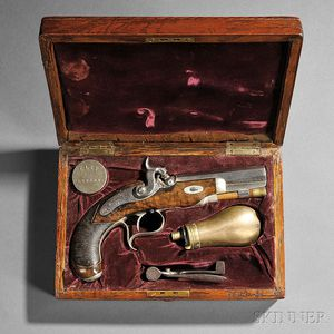 Cased Single-shot Libeau Percussion Pistol