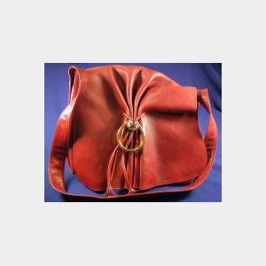 Wine Leather, Brass, and Enamel Shoulder Bag, Gucci