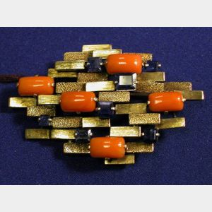 Contemporary 14kt Gold,Coral and Sapphire Brooch