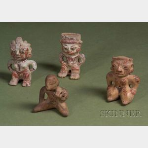 Four Pre-Columbian Painted Pottery Figures
