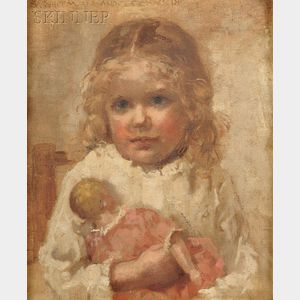 Sarah De St. Prix Wyman Whitman  (American, 1842-1904)      Portrait of a Young Girl with a Doll