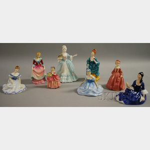 Five Royal Doulton and Three English Porcelain Collectible Figures
