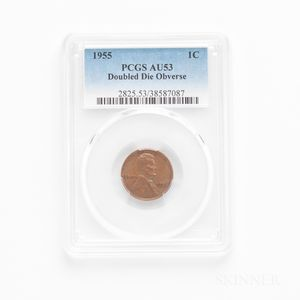 1955 Doubled Die Obverse Lincoln Cent, PCGS AU53BN.