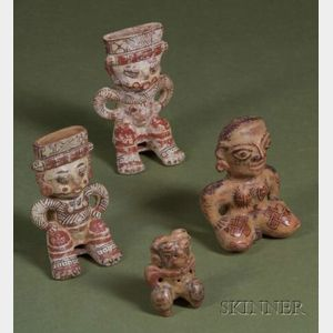 Four Pre-Columbian Polychrome Pottery Figures