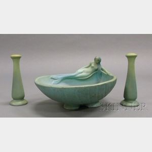 "Van Briggle ""Siren of the Sea"" Centerbowl and a Pair of Candlesticks"