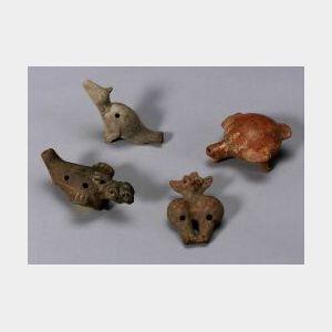 Four Pre-Columbian Pottery Ocarinas