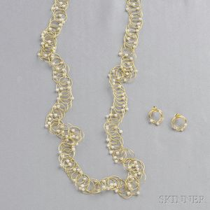 18kt Gold and Cultured Pearl Necklace and Earstuds