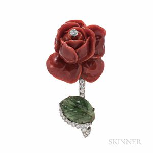 Cartier Coral, Nephrite, and Diamond Rose Brooch