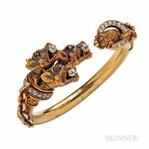 Unusual Archeological Revival Gold and Diamond Bracelet Depicting Cerberus