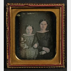Oversized Quarter Plate Daguerreotype of Two Sisters, One Holding a Chalkware Figure