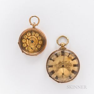Two Gold European Open-face Watches