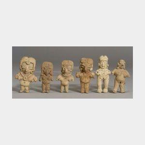 "Six Pre-Columbian Pottery ""Pretty Lady"" Figures"