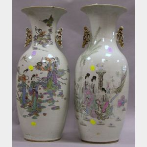Two Large Chinese Export Porcelain Vases.