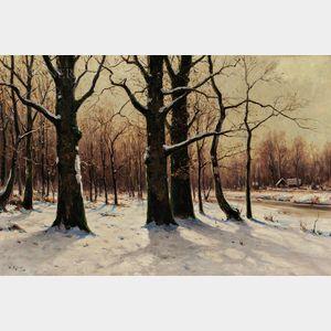 Walter Moras (German, c. 1856-1925)      Sunlight through Trees in Winter