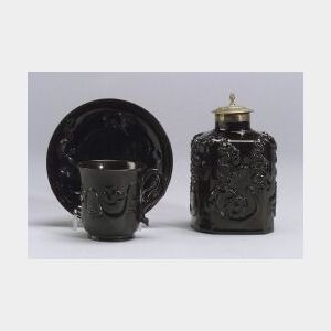 Two Staffordshire Black Glazed Items