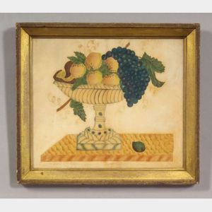 American School, 19th Century,      Still Life with Fruit in a Compote on a Marble Table.