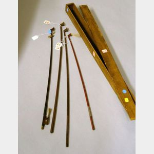 Lot of 4 Bow sticks, bowcase labeled E.M.Ouchard