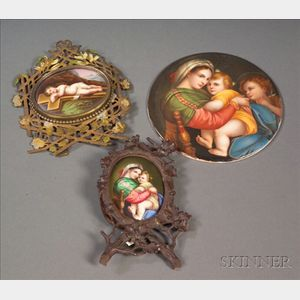 Three Continental Handpainted Porcelain Plaques