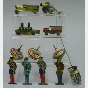 Twelve Lithographed Tin Penny Toys