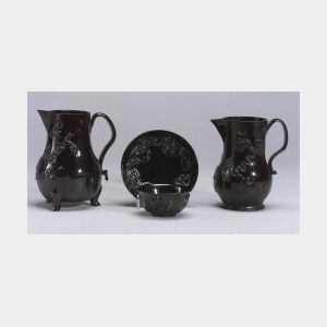 Three Staffordshire Black Glazed Items