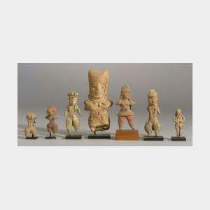 "Seven Pre-Columbian Pottery ""Pretty Lady"" Figures"