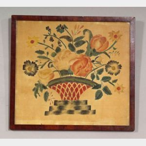 American School, 19th Century,      Still Life with Flowers in a Basket.
