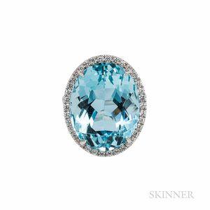 18kt White Gold, Aquamarine, and Diamond Ring