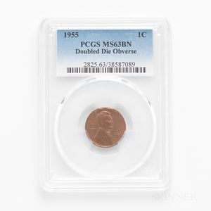 1955 Doubled Die Obverse Lincoln Cent, PCGS MS63BN.