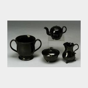 Four Staffordshire Black Glazed Items