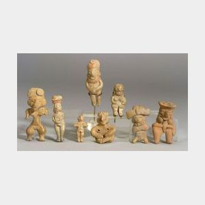 """Eight Pre-Columbian Pottery """"Pretty Lady"""" Figures"""