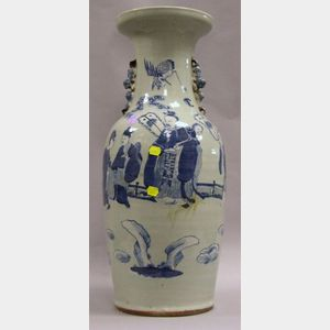 Large Chinese Export Porcelain Blue and White Figural Decorated Vase.