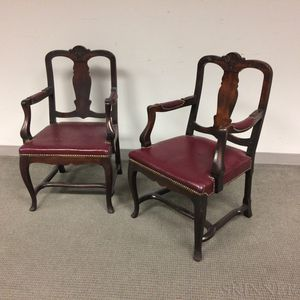 Pair of Victorian Carved Mahogany Armchairs