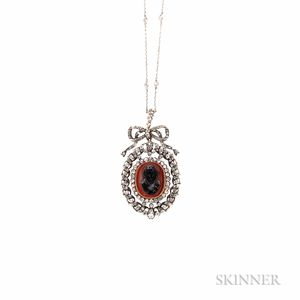 Antique Hardstone Cameo and Diamond Pendant/Brooch