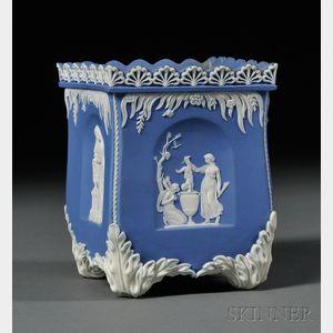 Adams Solid Blue Jasper Bough Pot and Lid