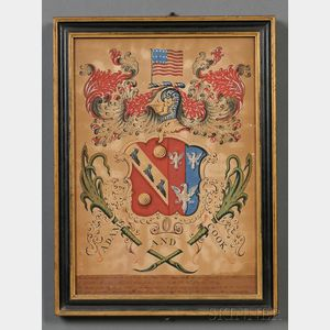 """Framed Painted """"Adams and Cook"""" Coat of Arms"""