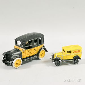 Polychrome Cast Iron Yellow Cab and a Coca-Cola Delivery Truck