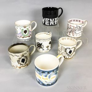 Seven Wedgwood Guyatt Design Ceramic Mugs