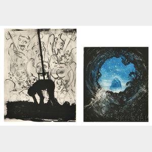 Michael Mazur (American, 1935-2009)      Two Plates from L'Inferno di Dante