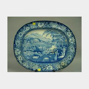 Large Rileys Blue and White Scenic Transfer Decorated Staffordshire Platter.