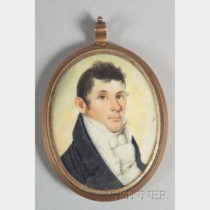American School, 19th Century    Portrait Miniature of a Gentleman.